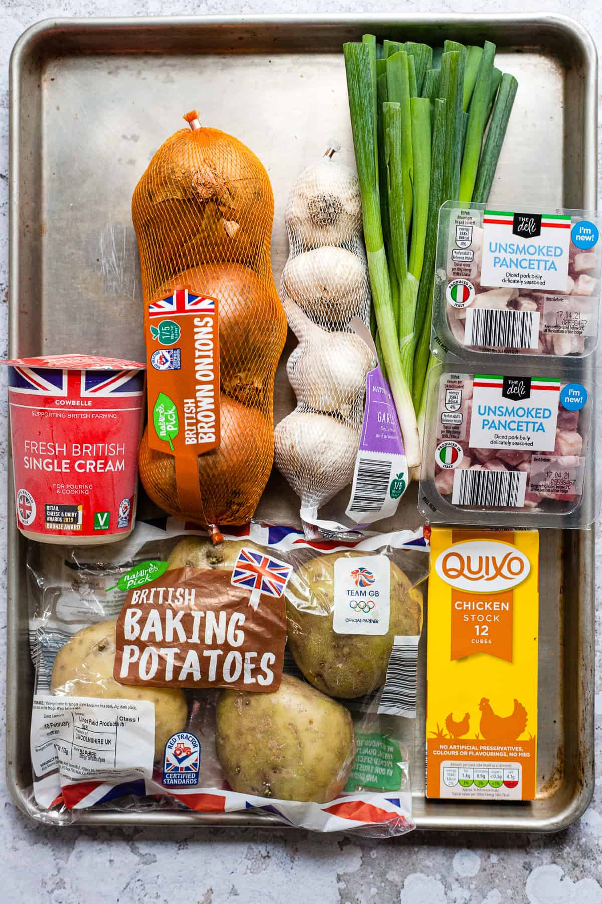 Ingredients from Aldi for baked potato soup.