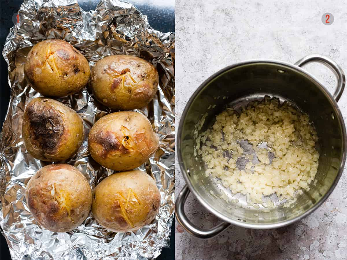 baked potatoes and softened onions for baked potato soup