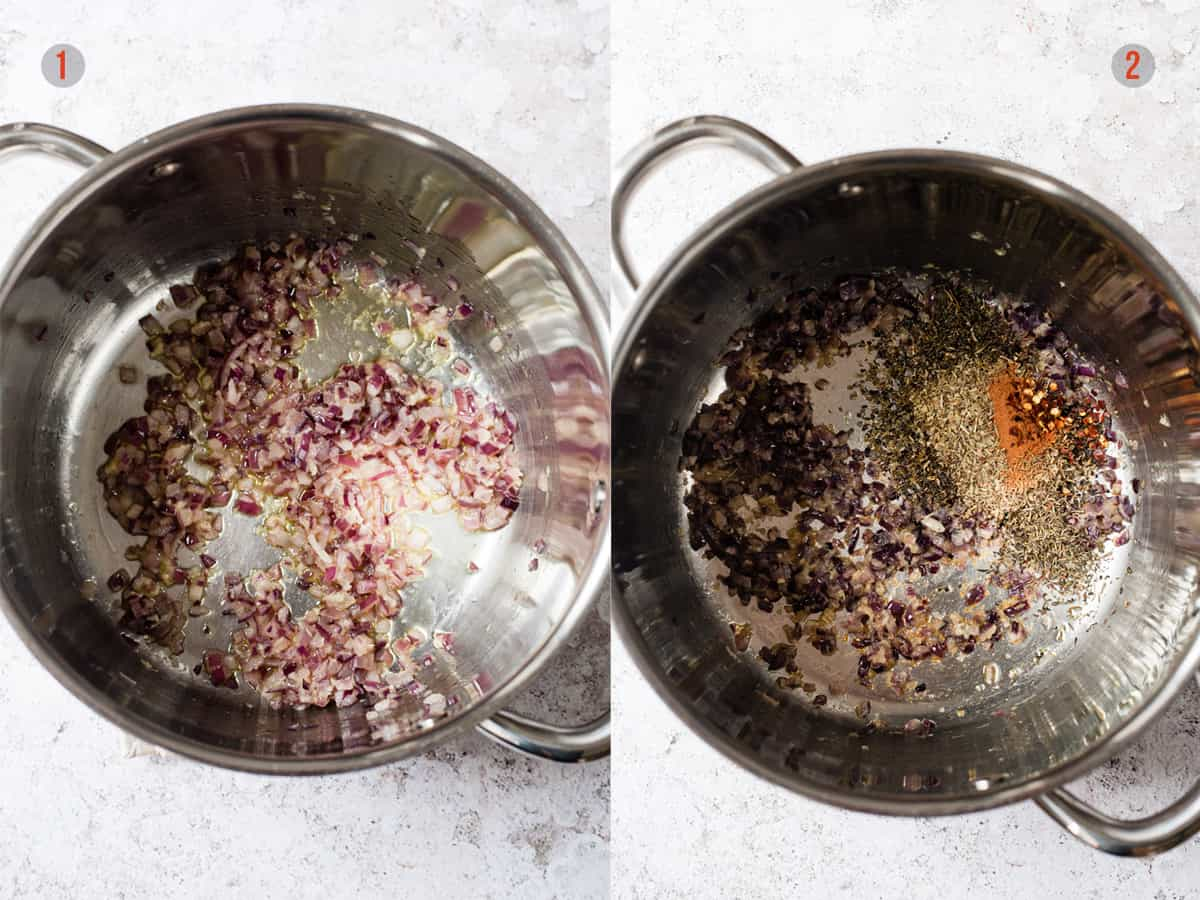 onions and herbs in a pot for making sauce