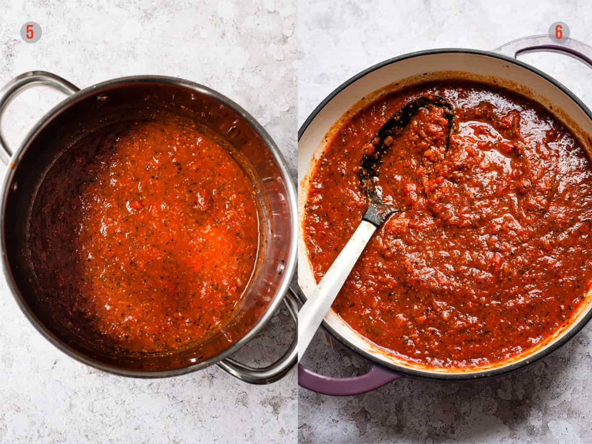 Finished homemade pasta sauce in a pan with a spoon.