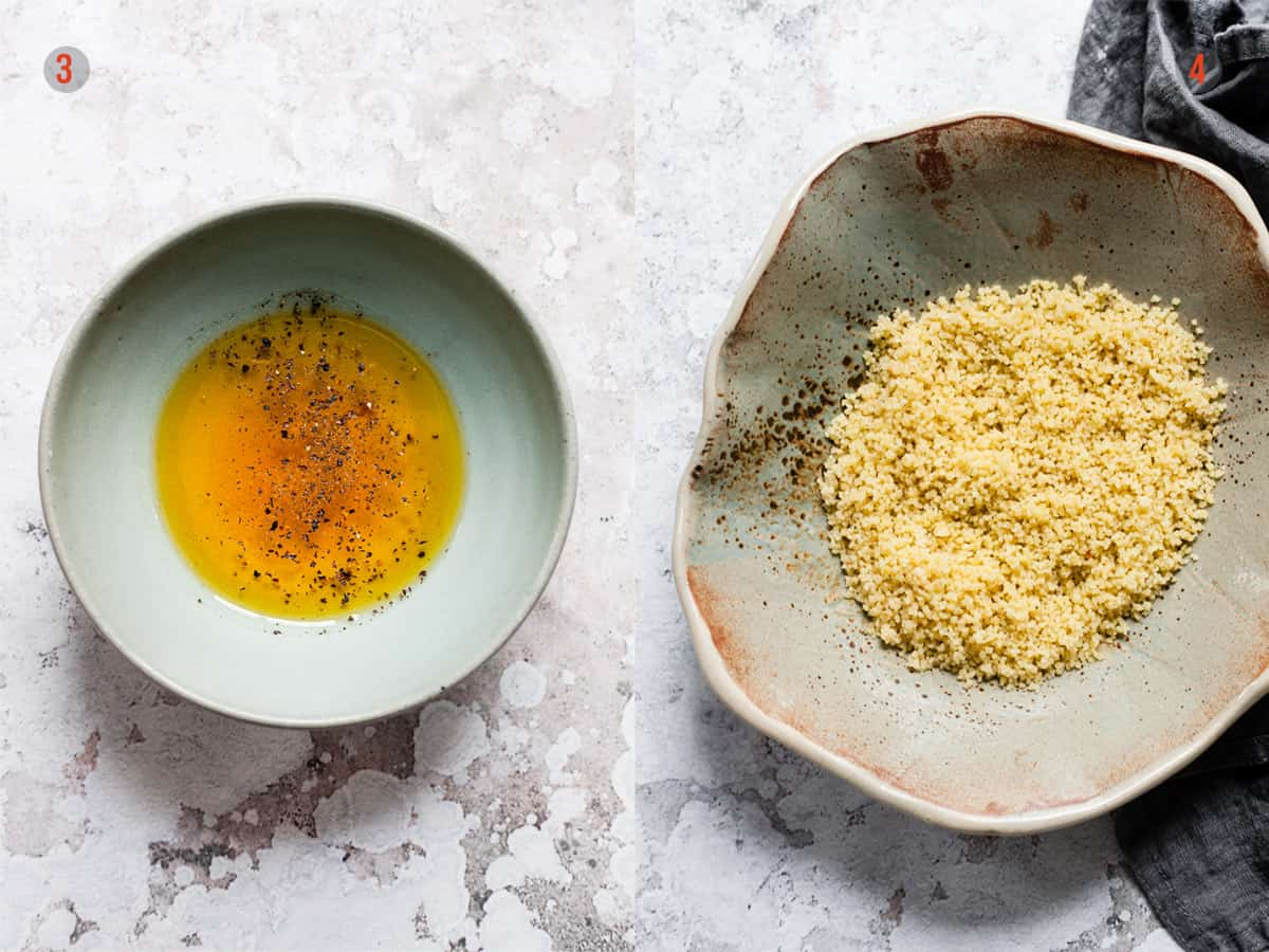 salad dressing and couscous for salad.