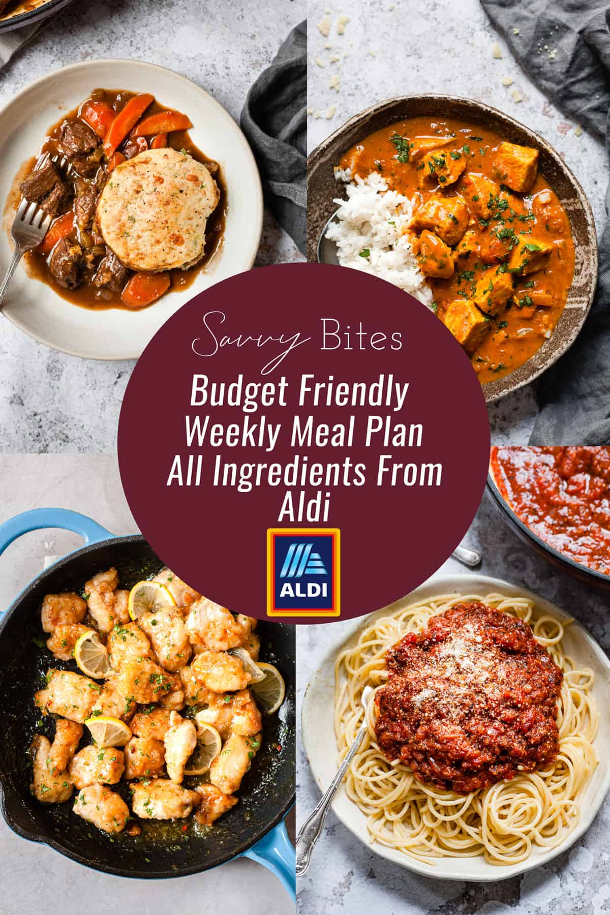 Meal plan collage for Aldi