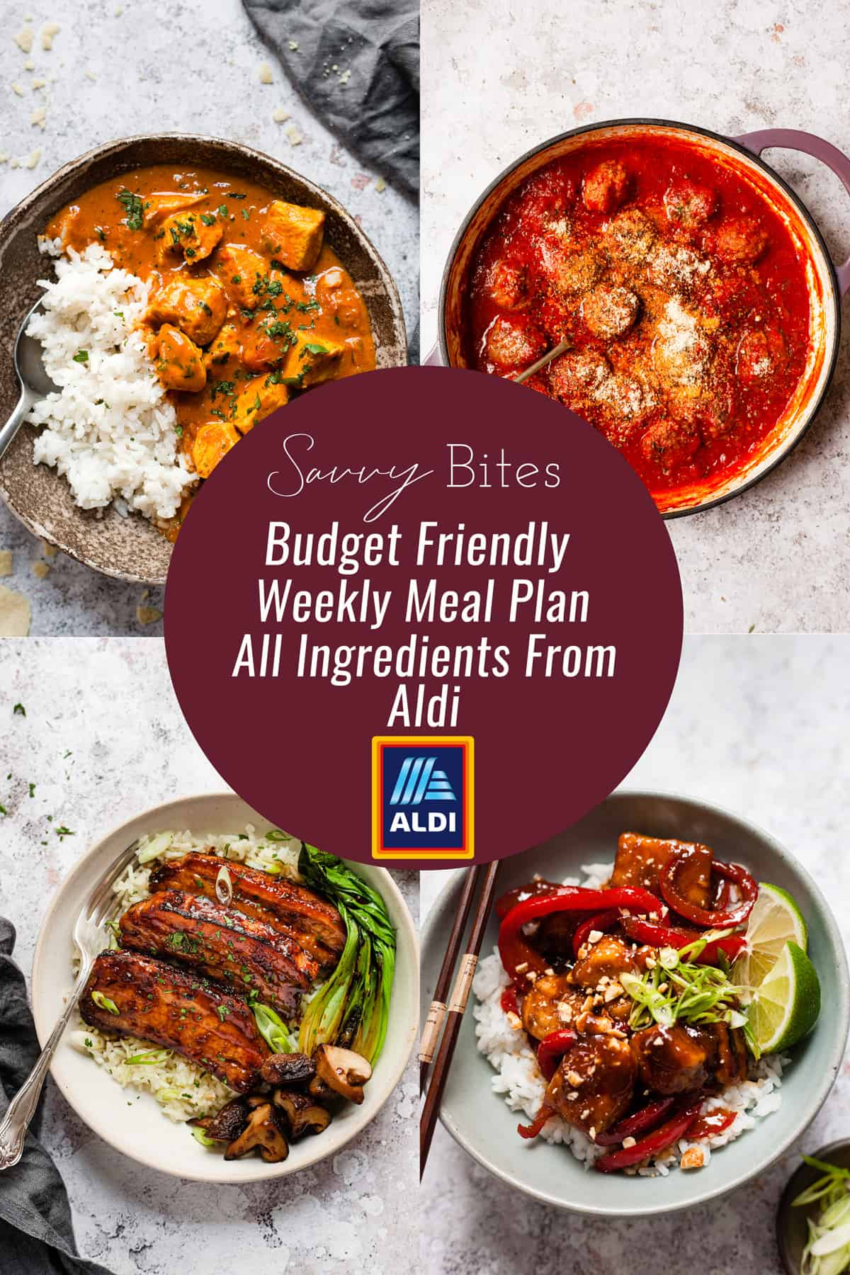 Aldi budget meal plan photo collage.