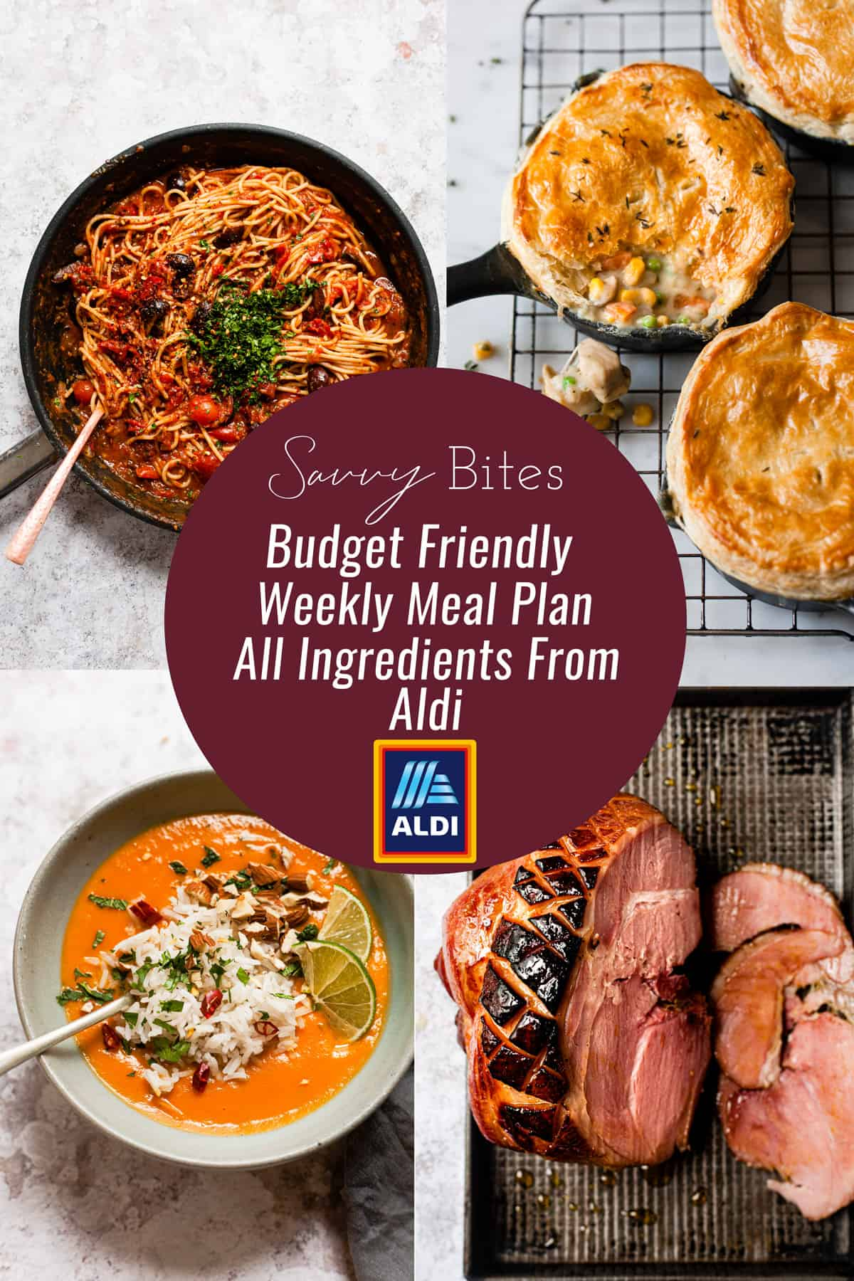 Aldi meal plan picture collage