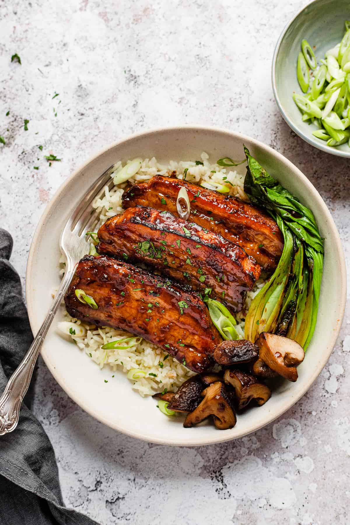 roast Pork belly slices on a bed of rice.