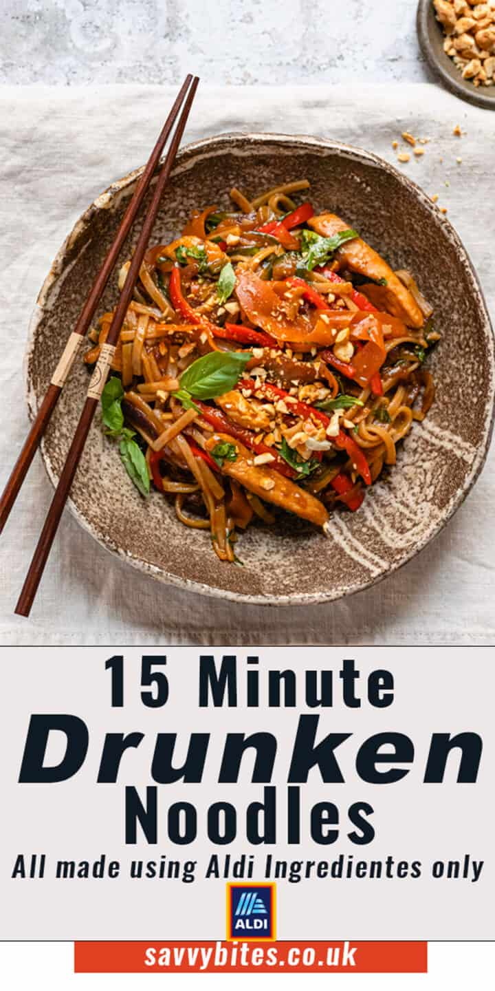 Drunken noodles on a white table with text overlay.