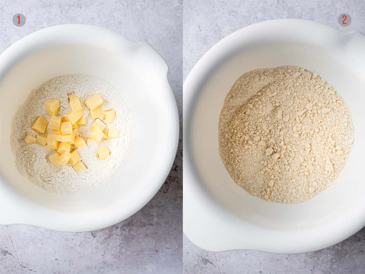 butter and flour in a bowl for scone dough
