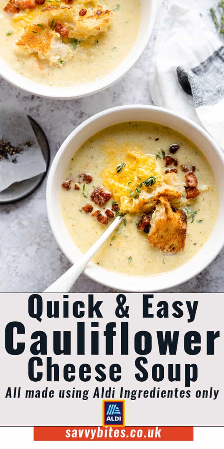 cauliflower cheese soup in a white bowl with a text overlay.