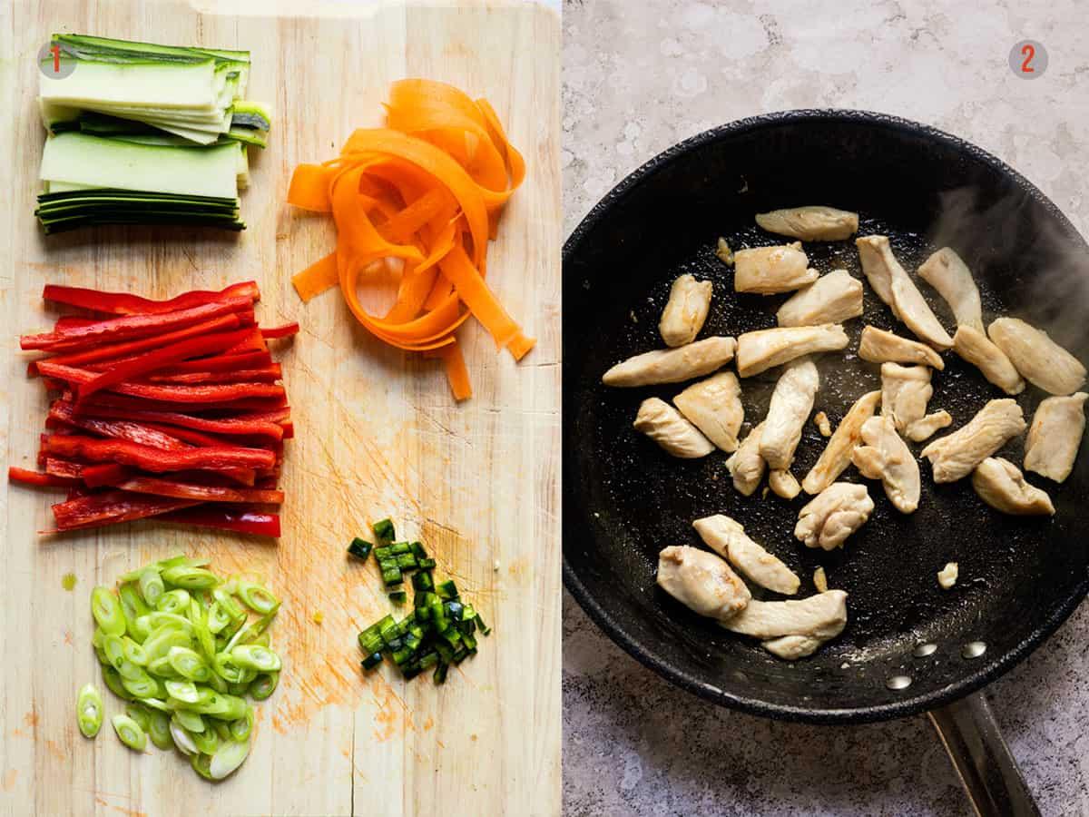 sliced vegetables and fried chicken for Drunken noodles