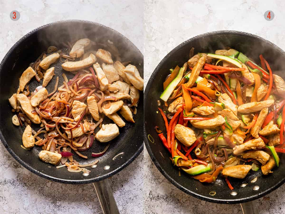 fried chicken and vegetables for Thai noodles