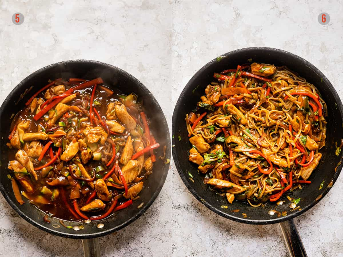 Drunken noodles with and without sauce