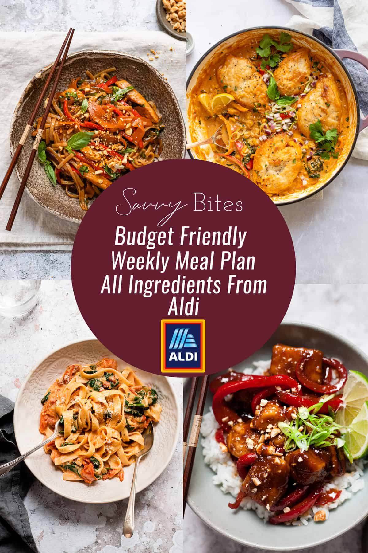 Aldi meal plan collage for weekly budget meal plan.