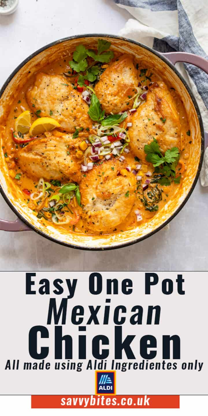 Mexican chicken in a skillet with a text overlay.