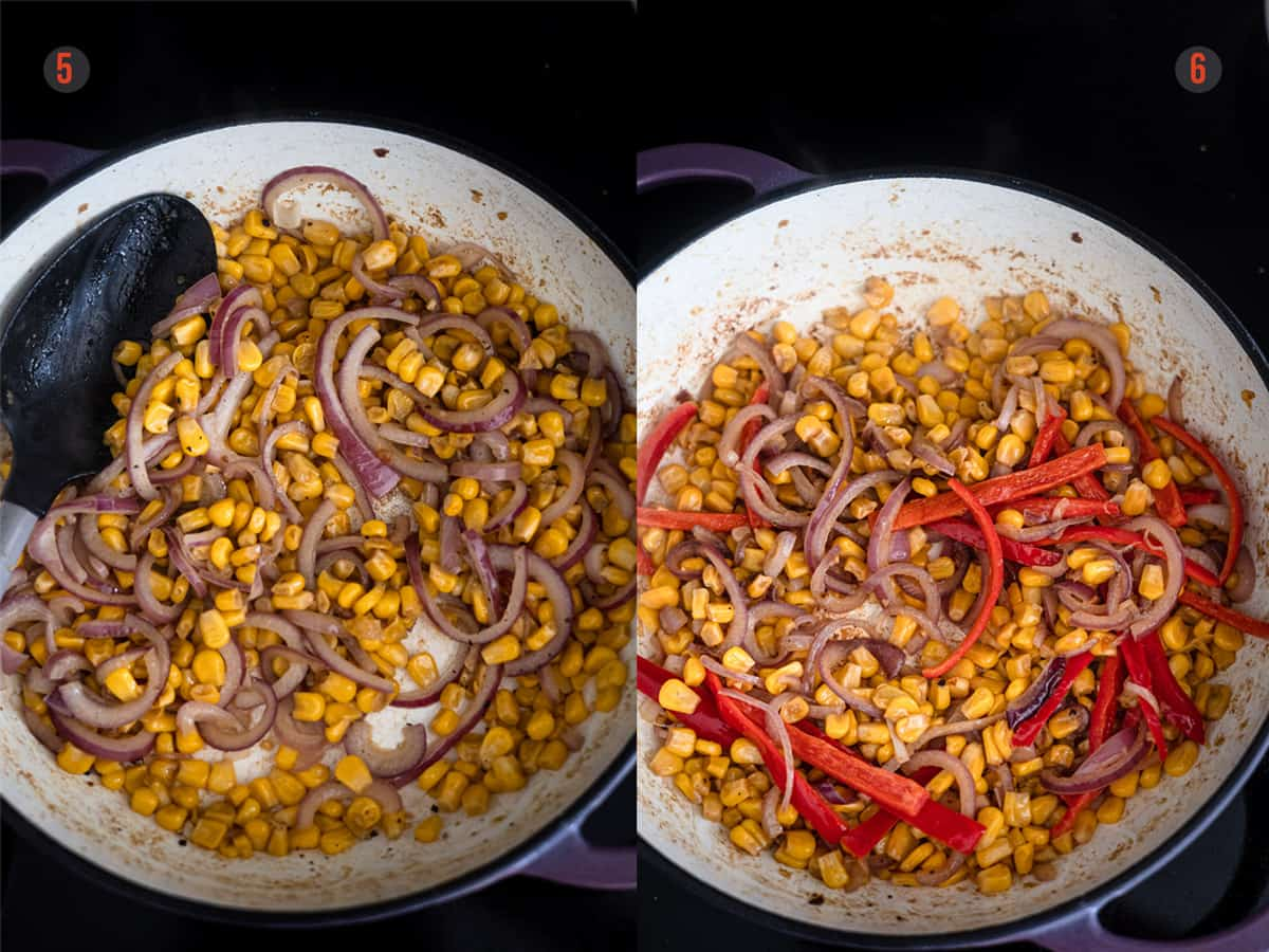 Frying corn and onions for making Mexican chicken.