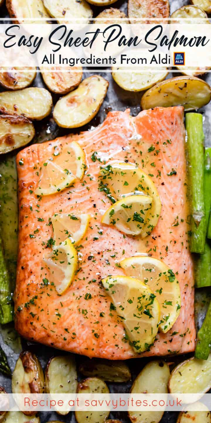 Salmon tray bake with text overlay