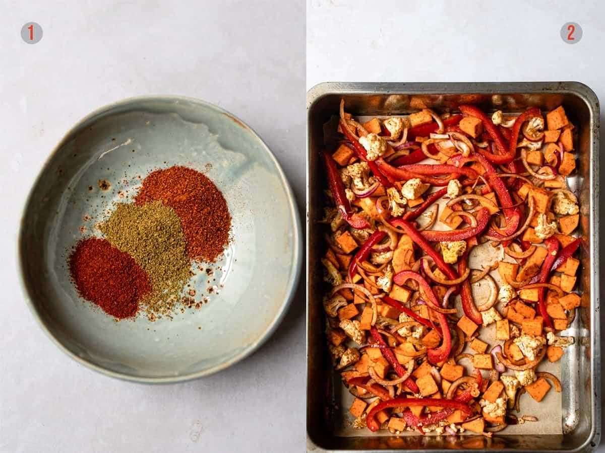 spice mix and veggies on a tray for veggie enchiladas