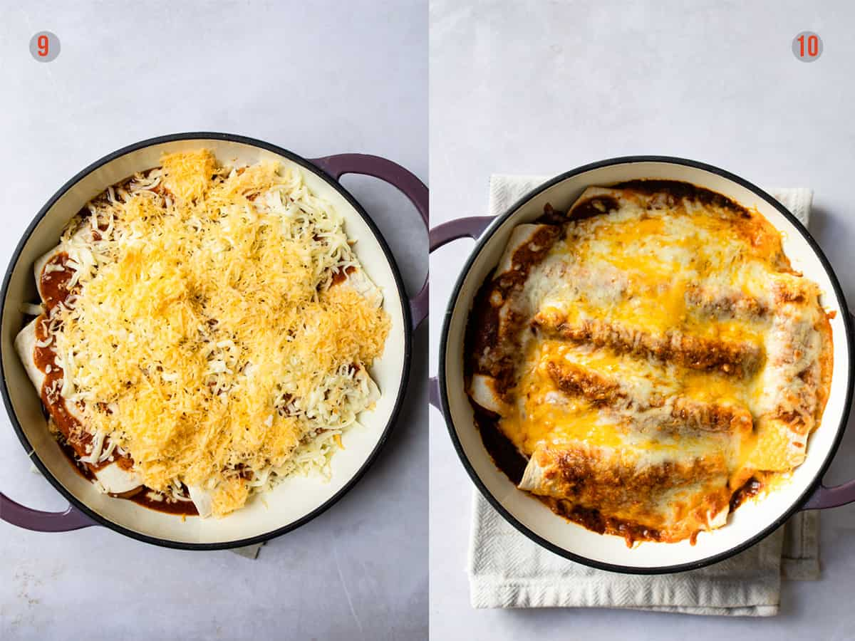 enchiladas with cheese before and after being baked