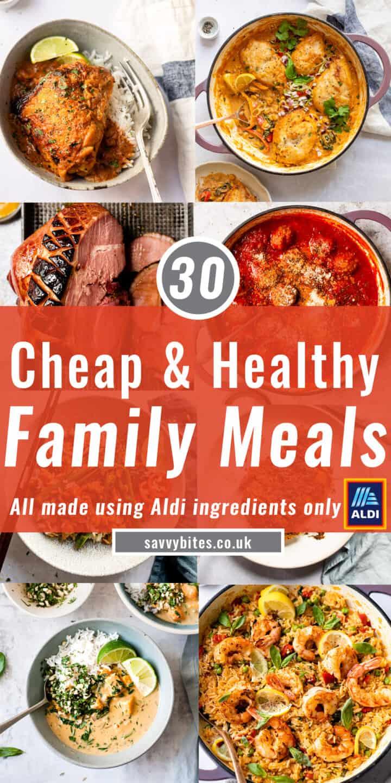 cheap healthy meals Aldi recipes photo collage
