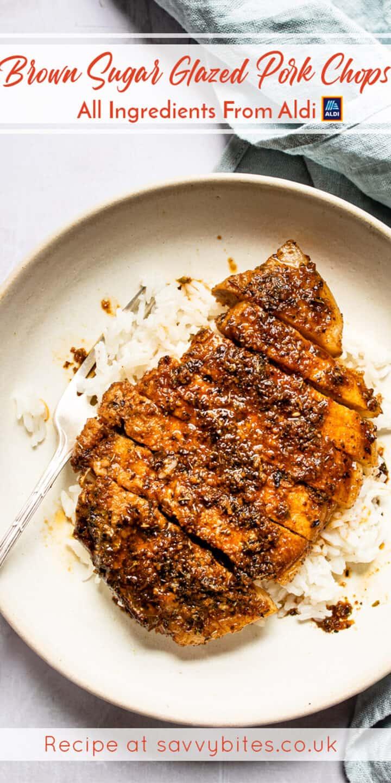 brown sugar pork chops on a white plate- cheap healthy meal