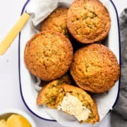 healthy courgette muffins in a tin
