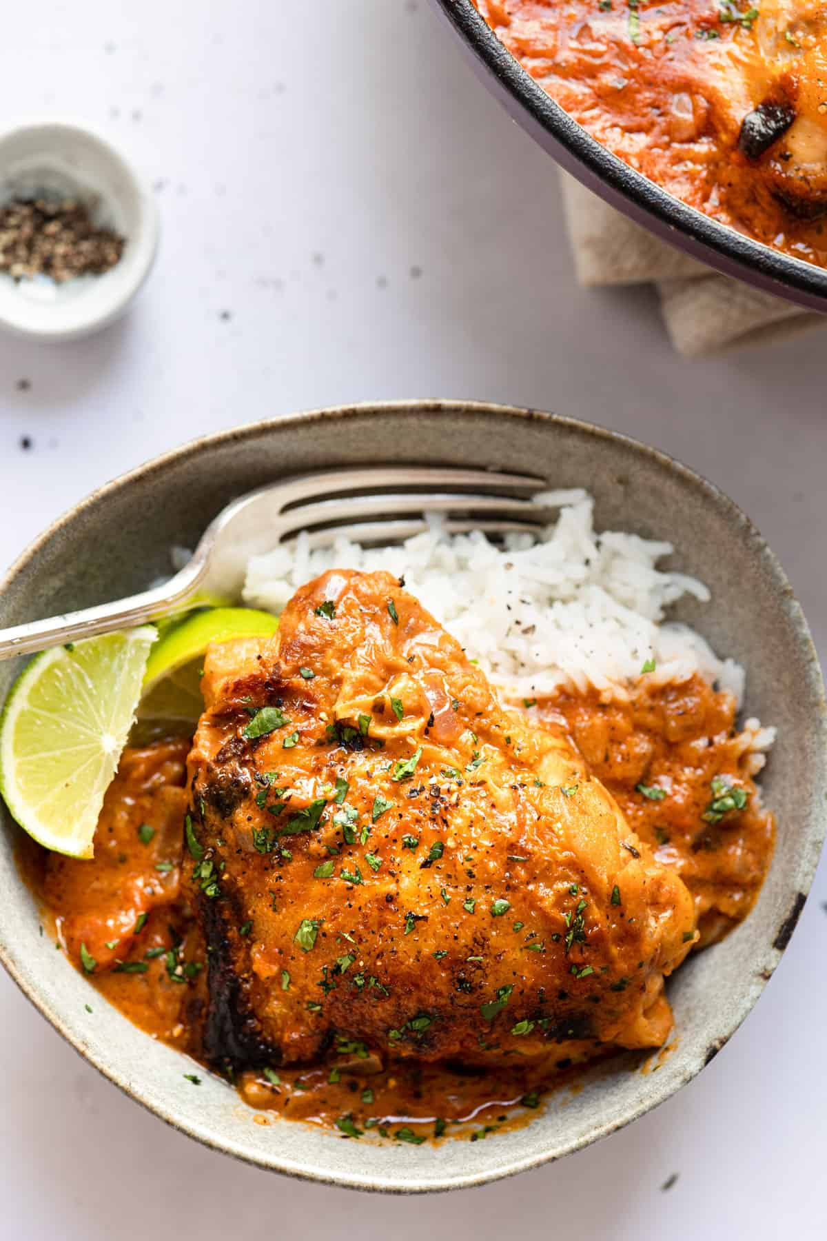 curry chicken thighs on a bed of basmati rice with a fork- aldi recipe