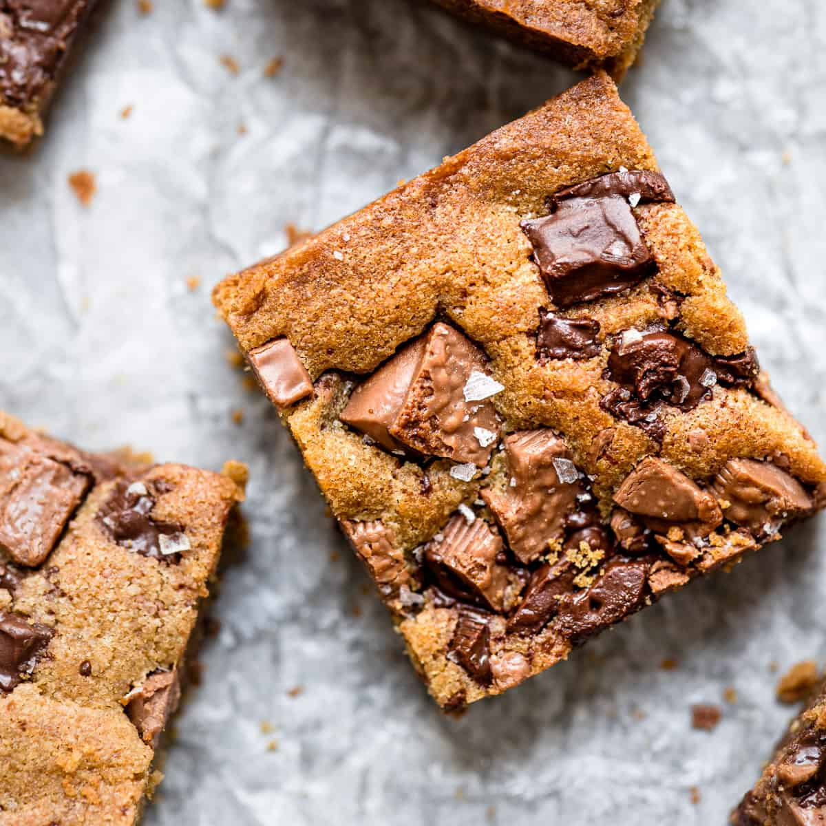 chewy cookie bars on baking paper