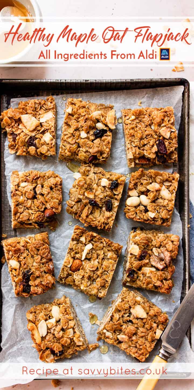 healthy flapjacks on a baking tray. Aldi recipe