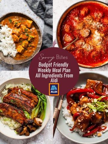 Aldi budget meal plan recipe photos
