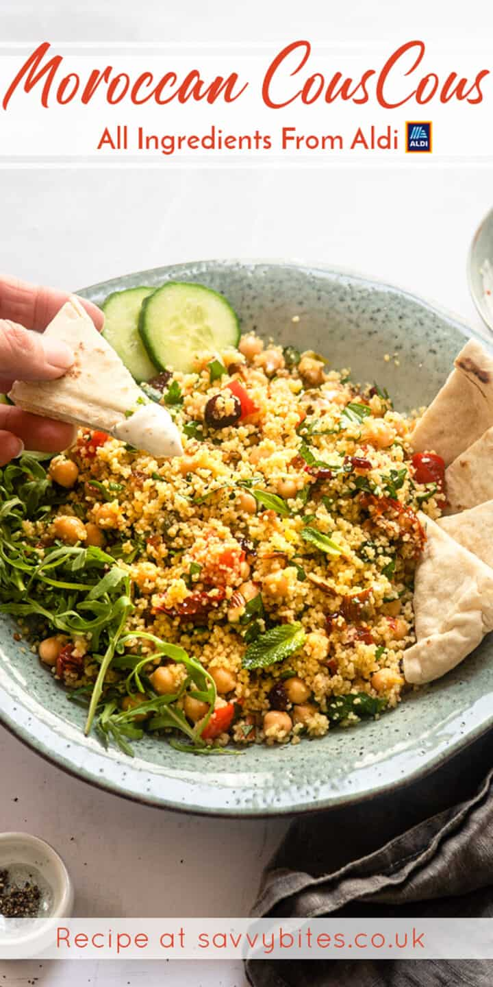 Moroccan couscous with pita bread- aldi recipe