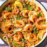 Prawn rice in tomato sauce