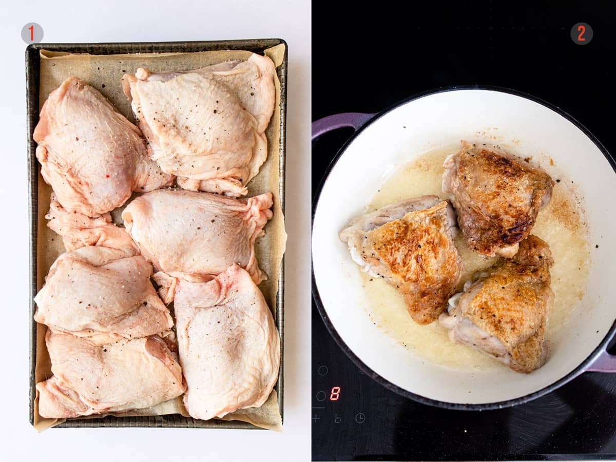 browning the chicken for curry chicken thighs- aldi recipe