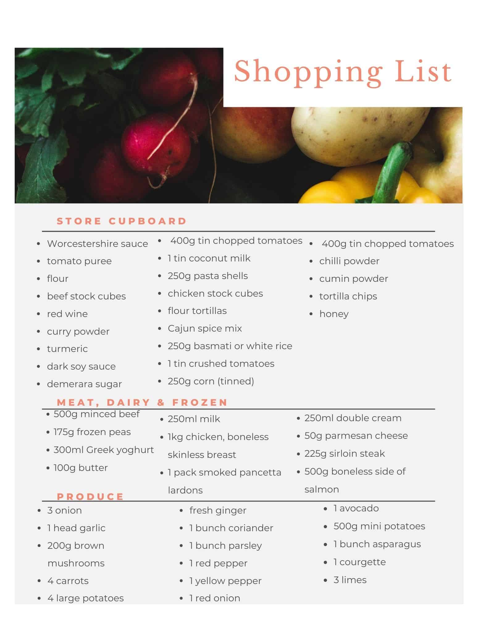 Aldi budget meal plan shopping list May 17th.
