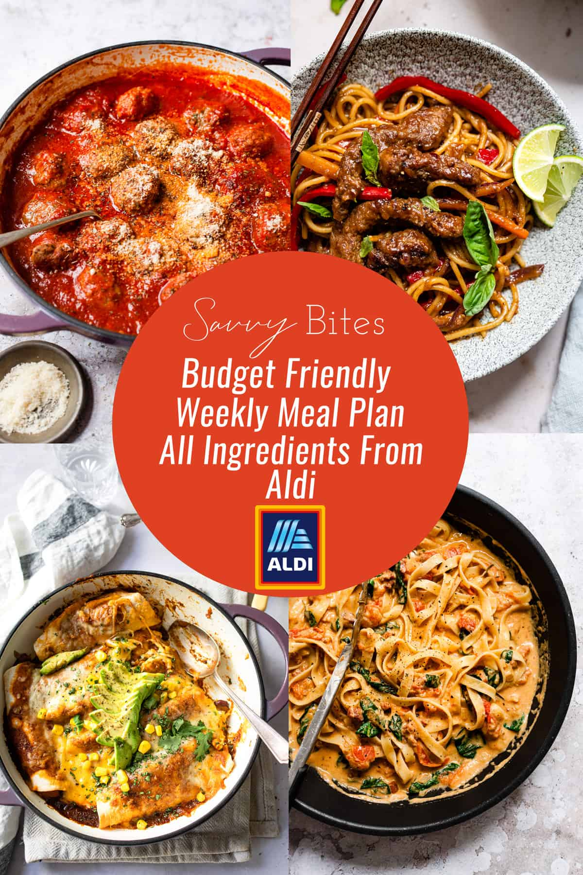 Aldi budget meal plan photo collage. Budget recipes