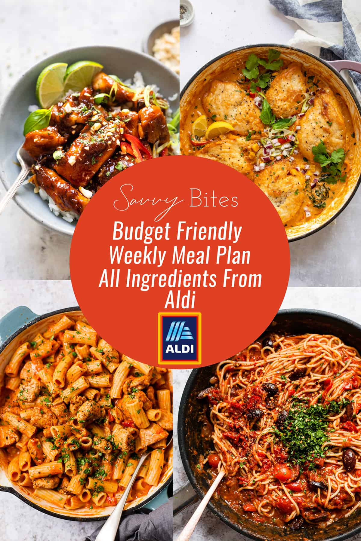 Aldi budget meal plan- easy recipes- photo collage