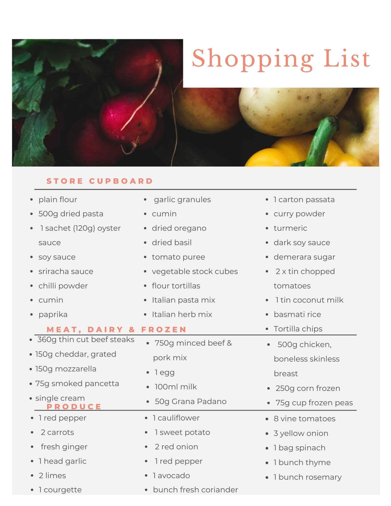 Aldi budget meal plan shopping list. Budget recipes.
