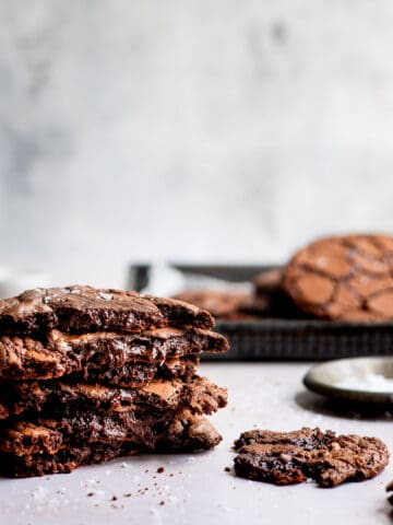 Aldi recipe brownie cookie, browkie on a white table.