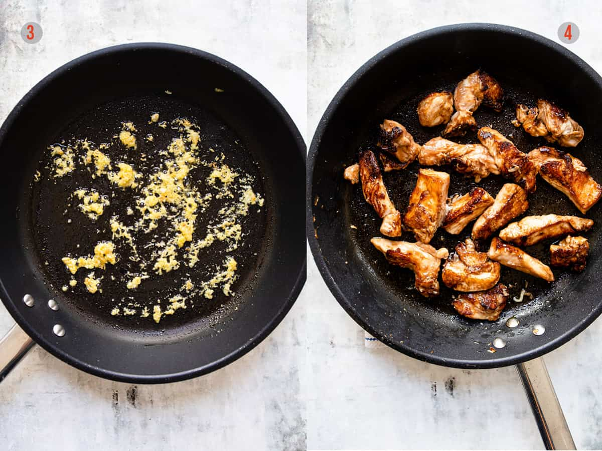 Frying ginger and garlic and chicken in a non stick frying pan. Aldi recipes