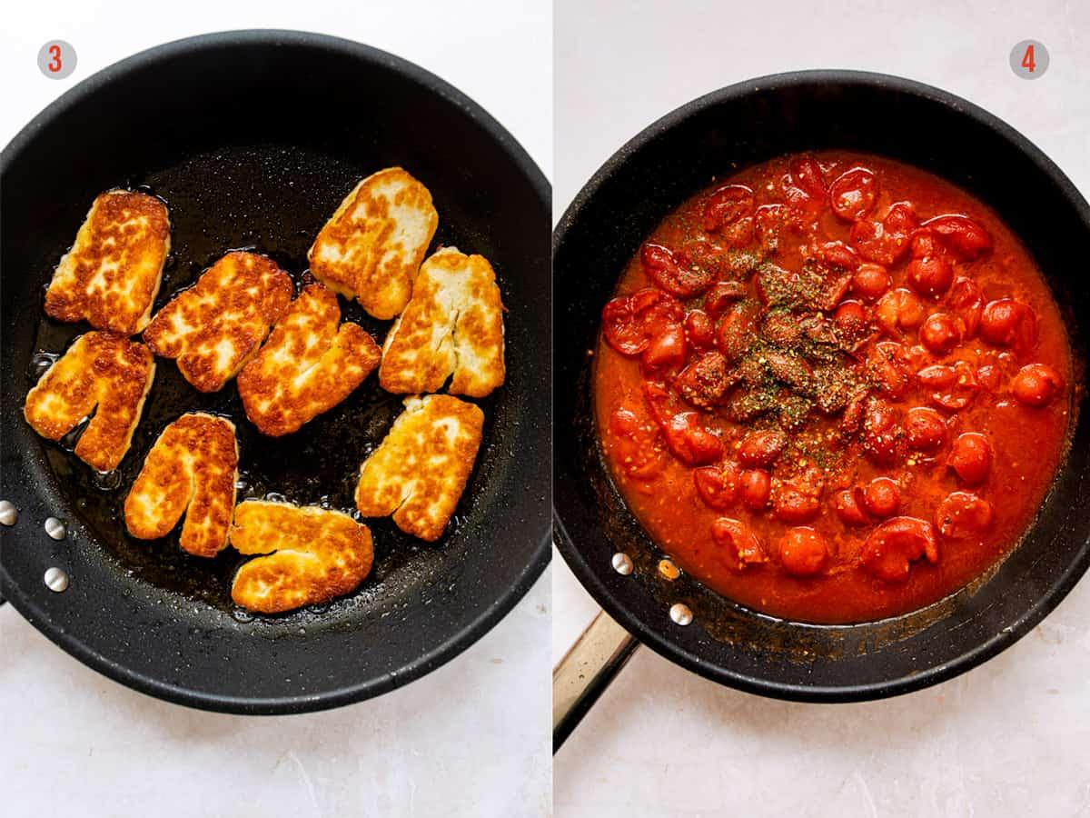 easy vegetarian tomato pasta sauce in a skillet