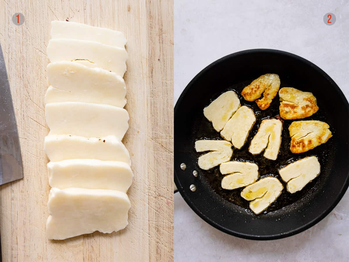 step 1 & 2 halloumi being fried and sliced for pasta