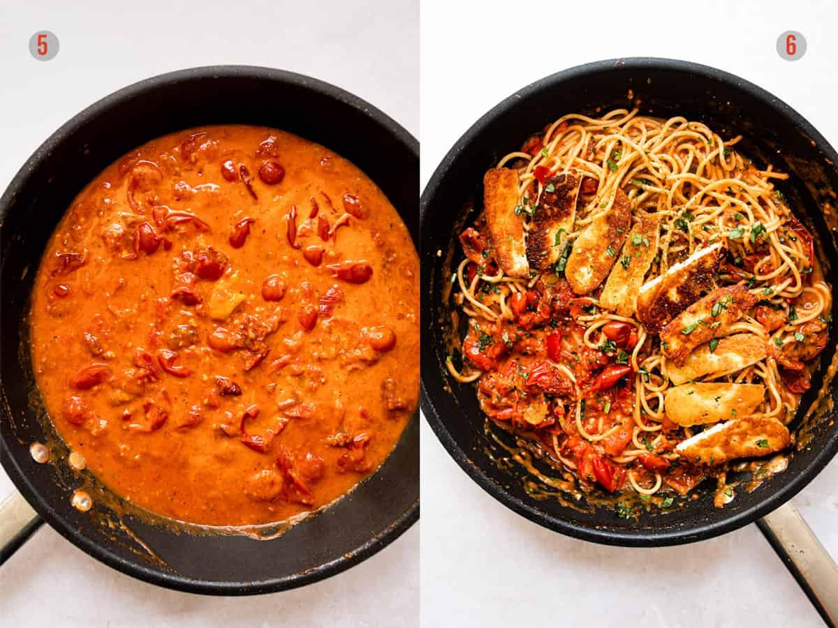creamy tomato pasta sauce with halloumi