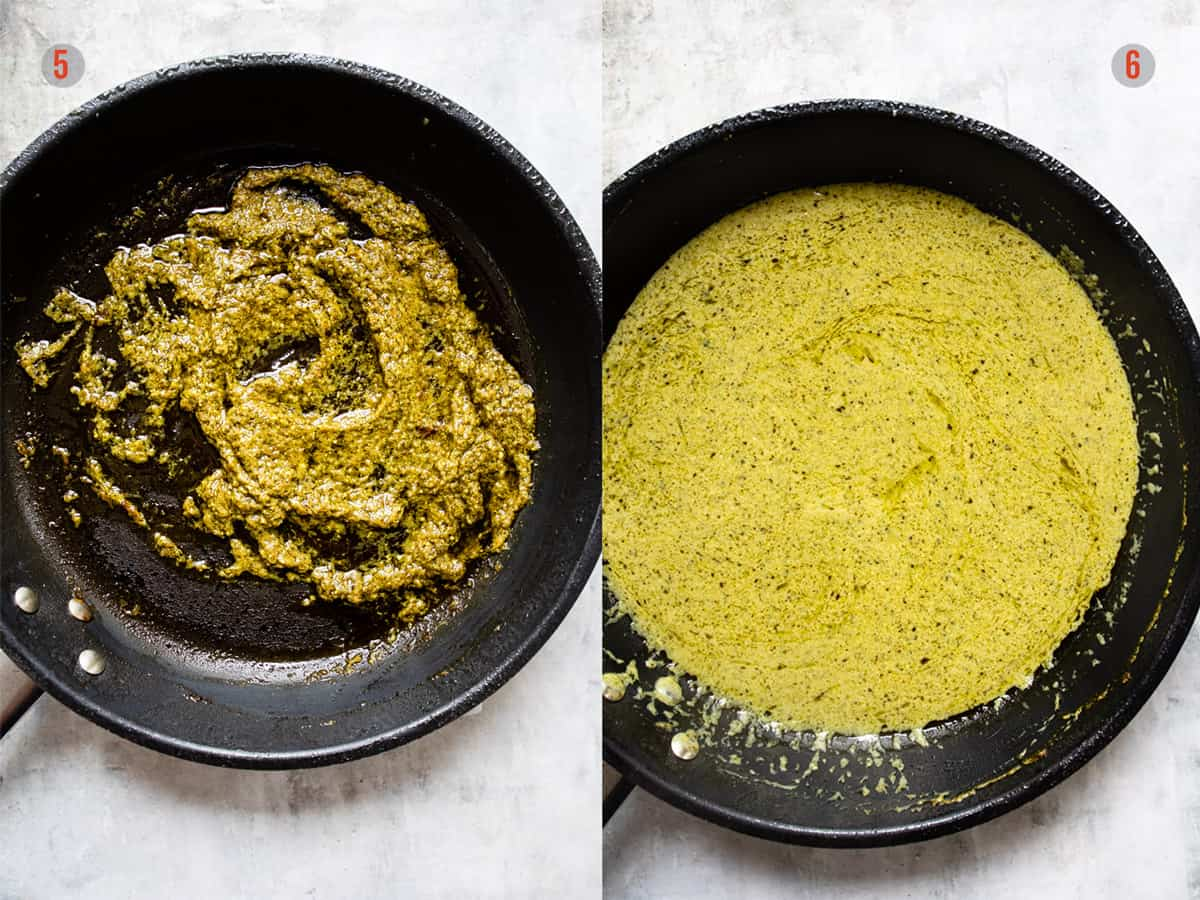 creamy pesto pasta sauce in a frying pan