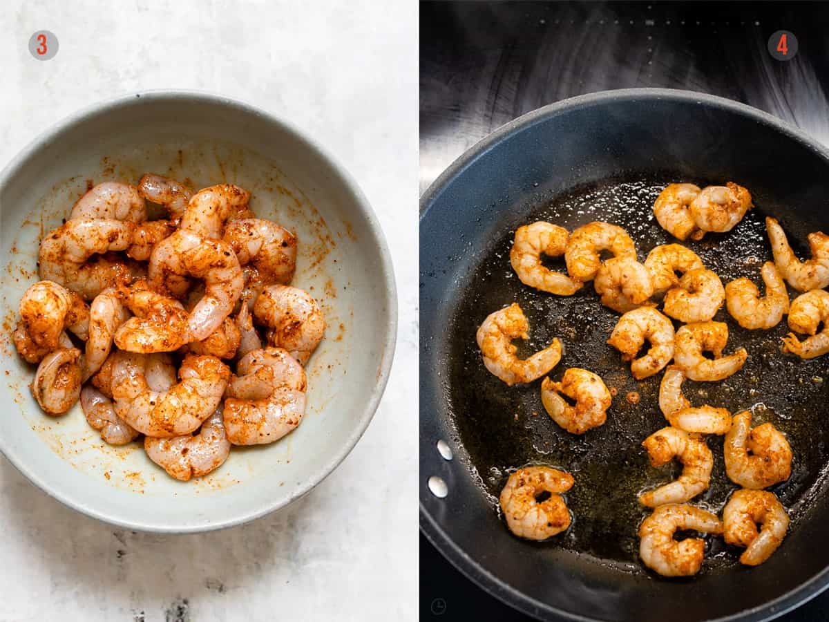 Frying the prawns in a nonstick skillet for prawn tacos- Aldi recipe