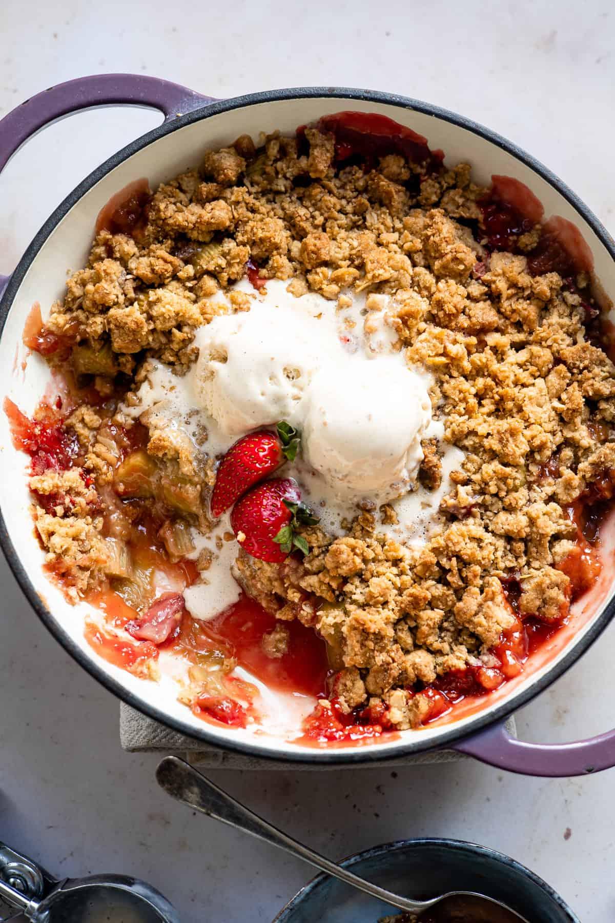Strawberry rhubarb fruit crumble with vanilla ice cream- Aldi recipes
