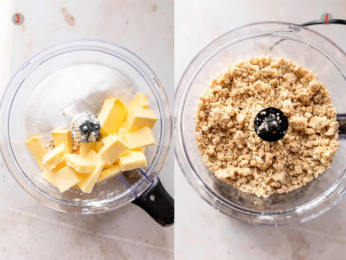 making the oat topping in a food processor