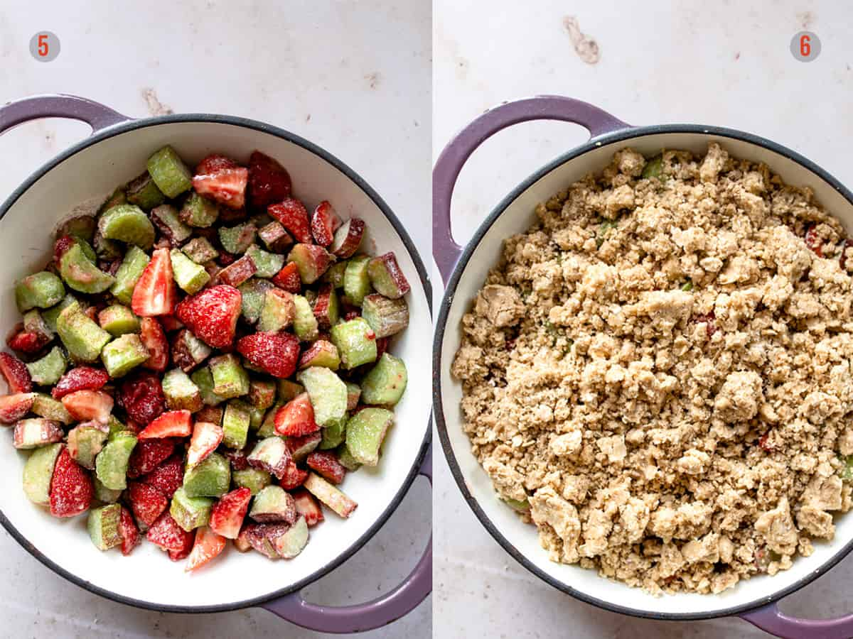 strawberry crumble - crisp in a baking pan with oat topping. Aldi recipes