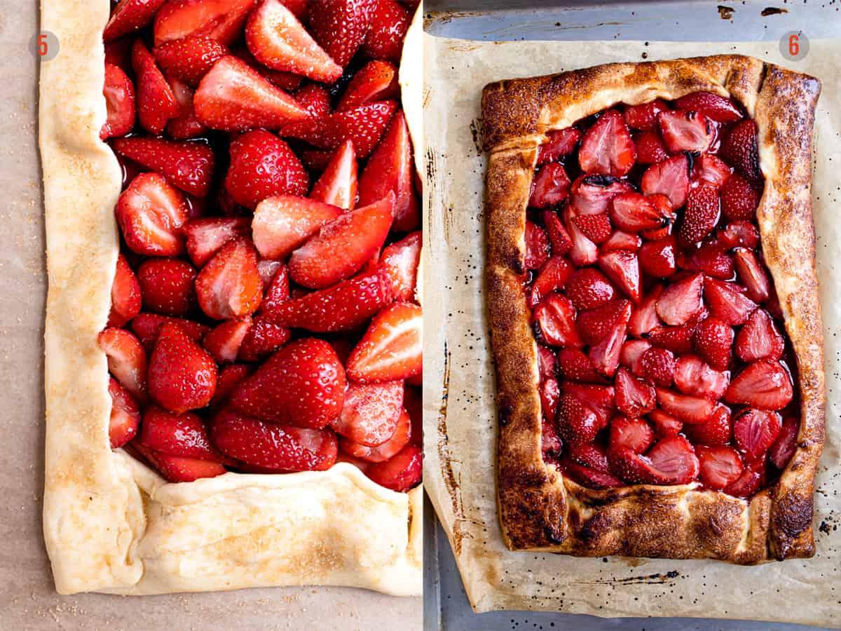 strawberry tart before and after baking- Aldi dessert