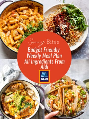 Aldi budget meal plan pic collage July 12