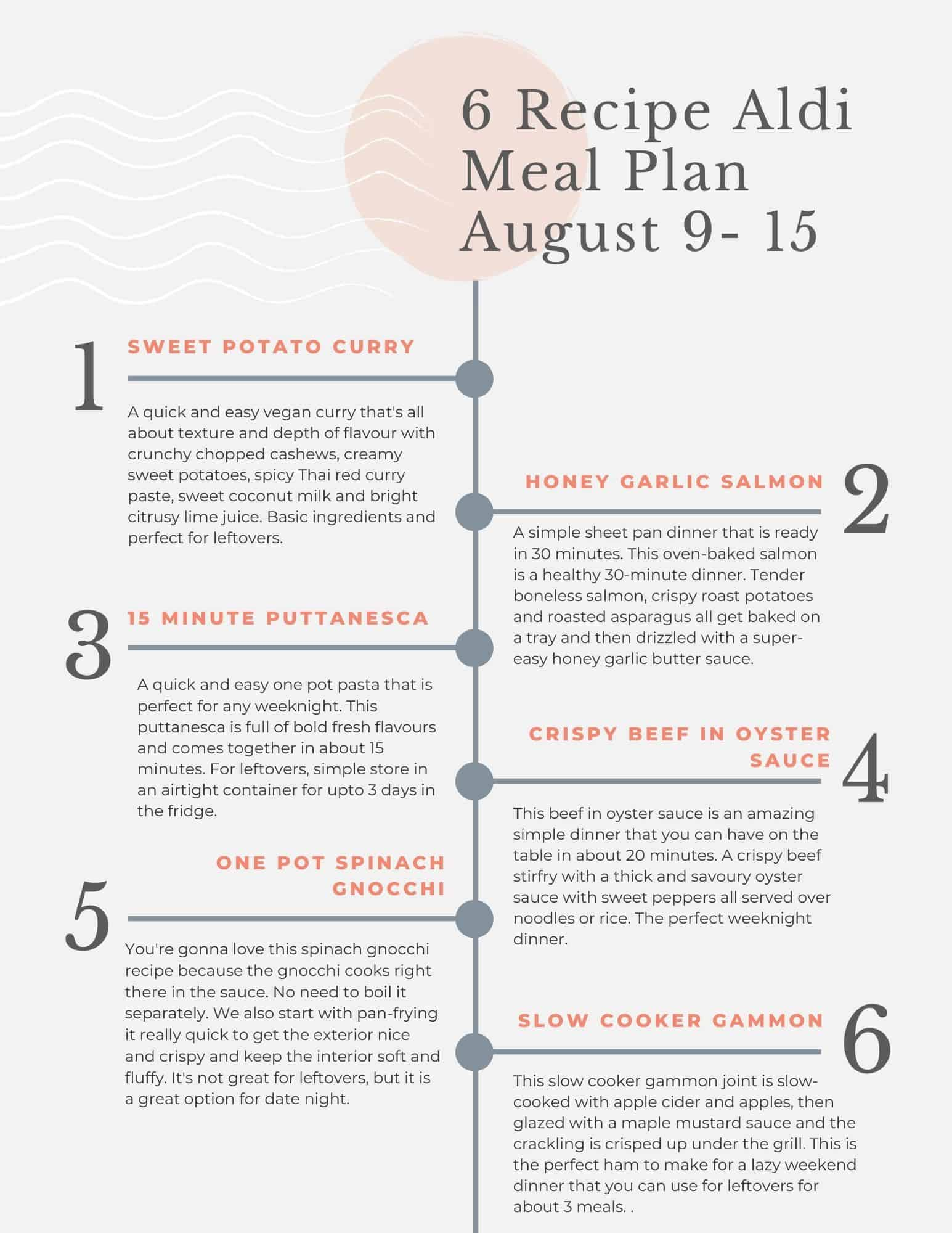 Aldi budget meal plan tip sheet for healthy vegetarian and slow cooker recipes.