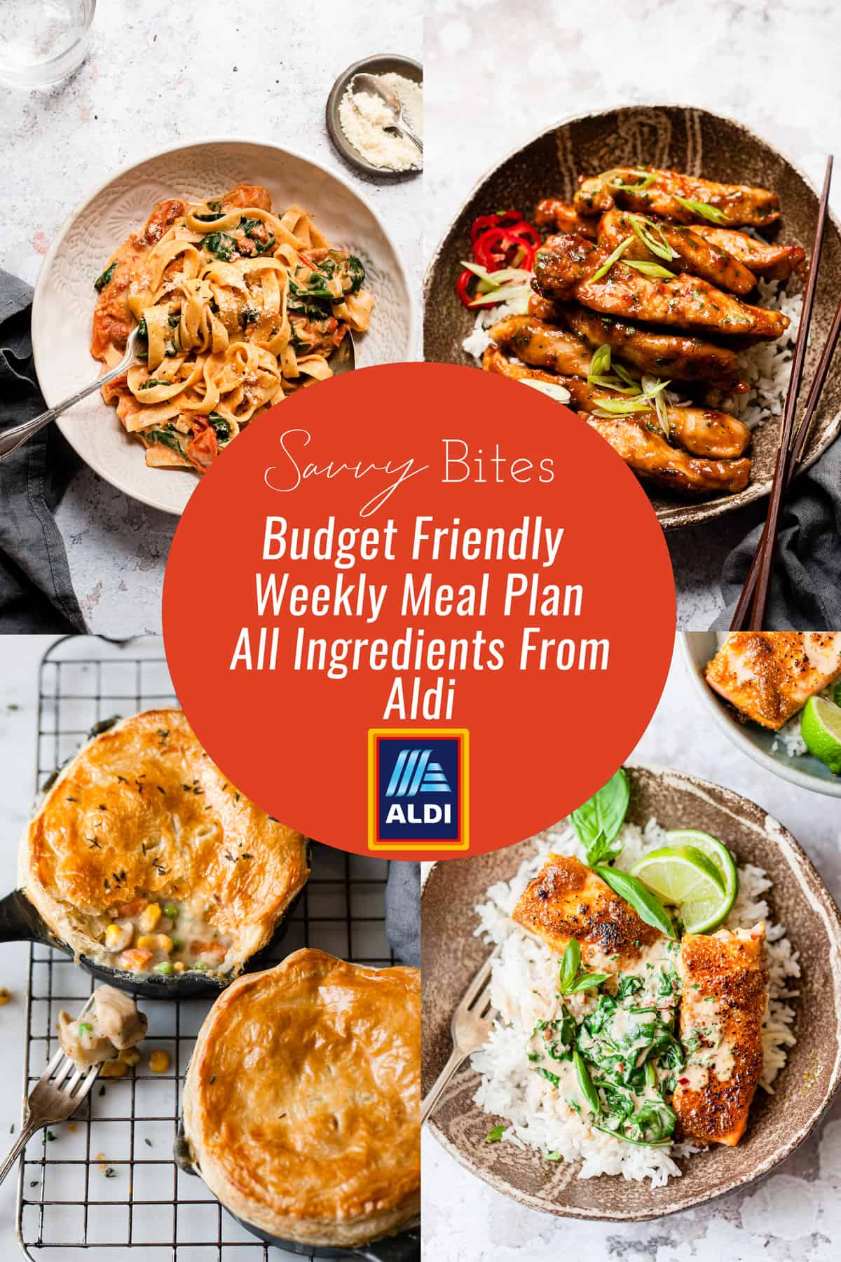 Aldi recipes in a photo collage for the meal plan