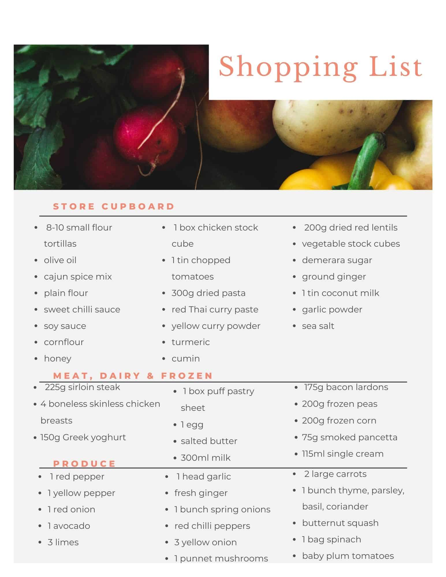 Aldi budget meal plan shopping list.